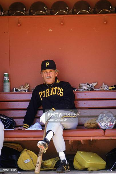 Manager Jim Leyland of the Pittsburgh Pirates sits in a dugout during a 1990 MLB season game against the San Francisco Giants at Candlestick Park in...