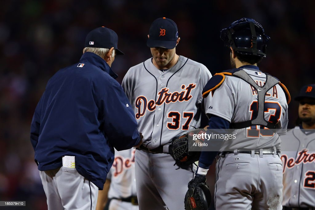 Manager Jim Leyland #10 relieves Max Scherzer #37 of the Detroit Tigers in the seventh inning against the Boston Red Sox during Game Six of the American League Championship Series at Fenway Park on October 19, 2013 in Boston, Massachusetts.
