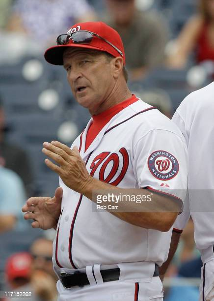 Manager Jim Riggleman of the Washington Nationals during the first inning against the Seattle Mariners at Nationals Park on June 23 2011 in...