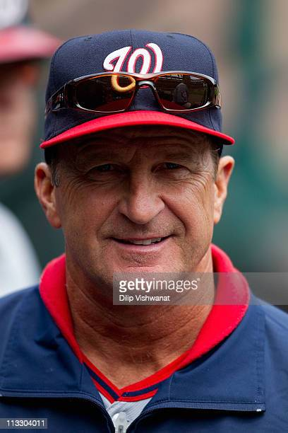 Manager Jim Riggleman of the Washington Nationals looks on against the St Louis Cardinals at Busch Stadium on April 21 2011 in St Louis Missouri
