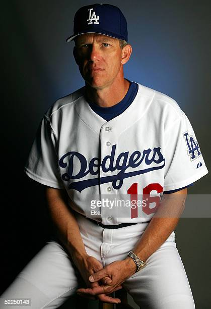 Manager Jim Tracy of the Los Angeles Dodgers poses during the Los Angeles Dodgers Portrait Day on February 27, 2005 at Holman Stadium in Vero Beach,...