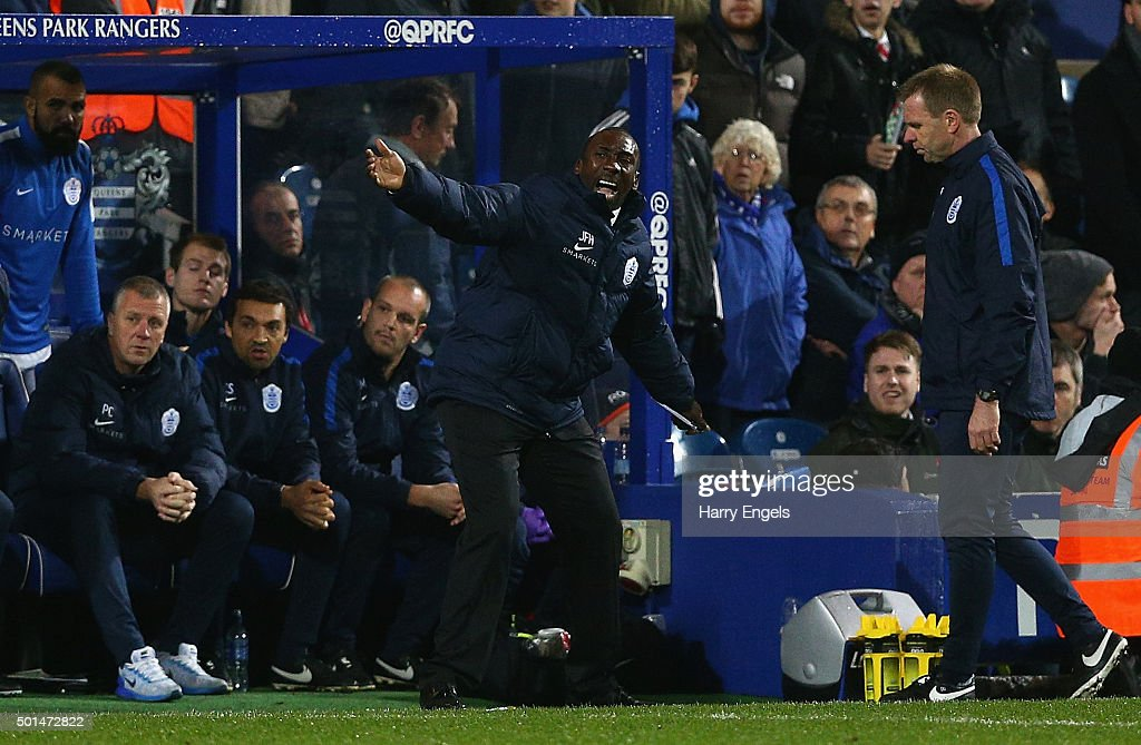 QPR manager Jimmy Floyd Hasselbaink gestures on the sidelines during the Sky Bet Championship match between Queens Park Rangers and Brighton and Hove Albion at Loftus Road on December 15, 2015 in London, United Kingdom.