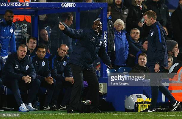 QPR manager Jimmy Floyd Hasselbaink gestures on the sidelines during the Sky Bet Championship match between Queens Park Rangers and Brighton and Hove...