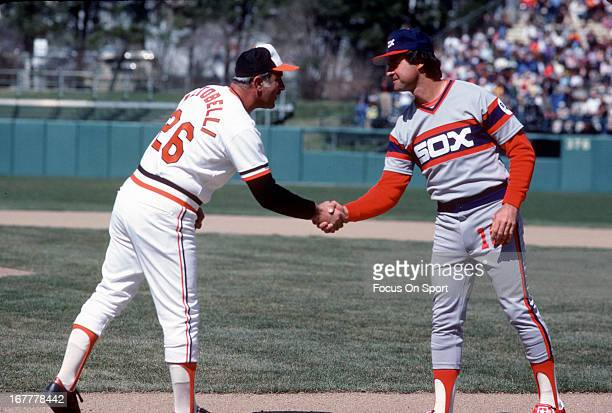 Manager Joe Altobelli of the Baltimore Orioles shakes hands with manager Tony La Russa of the Chicago White Sox before the start of a Major League...