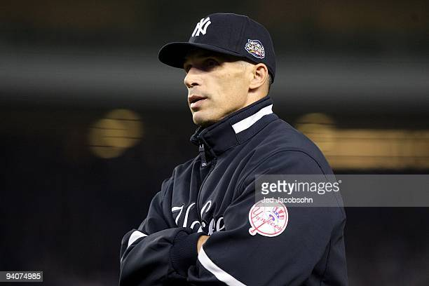 Manager Joe Girardi of the New York Yankees looks on against the Philadelphia Phillies in Game Two of the 2009 MLB World Series at Yankee Stadium on...