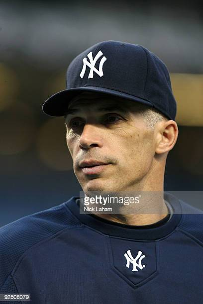 Manager Joe Girardi of the New York Yankees looks on during batting practice against the Philadelphia Phillies in Game Two of the 2009 MLB World...
