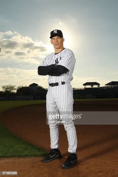 Manager Joe Girardi of the New York Yankees poses for a photo during Spring Training Media Photo Day at George M Steinbrenner Field on February 25...