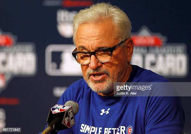 Manager Joe Maddon of the Chicago Cubs answers questions during a press conference before the National League Wild Card game against the Pittsburgh...