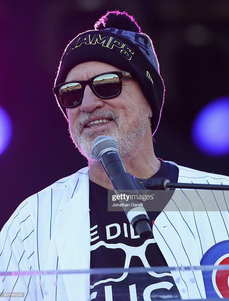 Manager Joe Maddon of the Chicago Cubs speakds to the crowd during the Chicago Cubs victory celebration in Grant Park on November 4, 2016 in Chicago, Illinois. The Cubs won their first World Series championship in 108 years after defeating the Cleveland Indians 8-7 in Game 7.