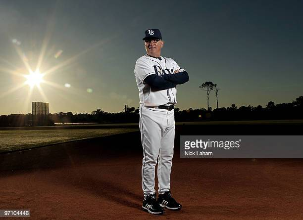 Manager Joe Maddon of the Tampa Bay Rays poses for a photo during Spring Training Media Photo Day at Charlotte County Sports Park on February 26 2010...