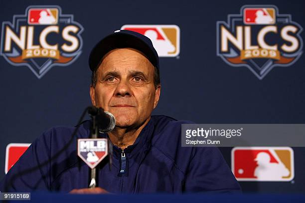 Manager Joe Torre of the Los Angeles Dodgers talks to the media prior to Game One of the NLCS during the 2009 MLB Playoffs against the Philadelphia...