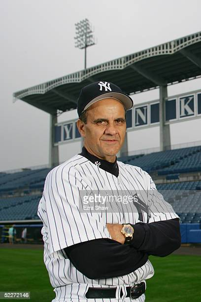 Manager Joe Torre of the New York Yankees poses for a portrait during Yankees Photo Day at Legends Field on February 25 2005 in Tampa Florida