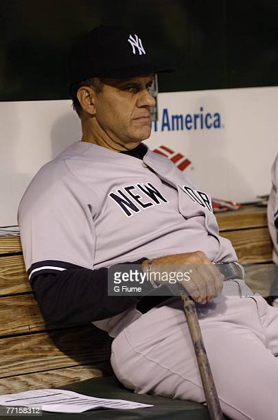 Manager Joe Torre of the New York Yankees sits in the dugout before the game against the Baltimore Orioles at Camden Yards September 28 2007 in...