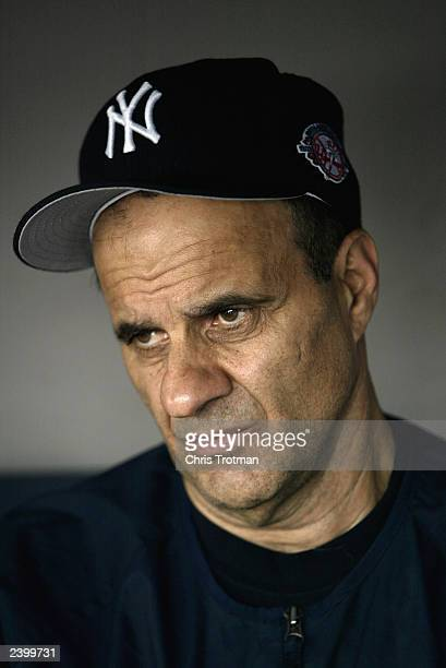 Manager Joe Torre of the New York Yankees sits in the dugout during batting practice prior to the American League game against the Seattle Mariners...