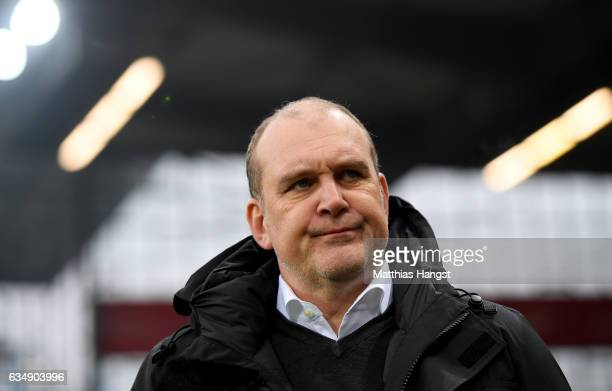 Manager Joerg Schmadtke of Koeln is seen during the Bundesliga match between SC Freiburg and 1 FC Koeln at SchwarzwaldStadion on February 12 2017 in...