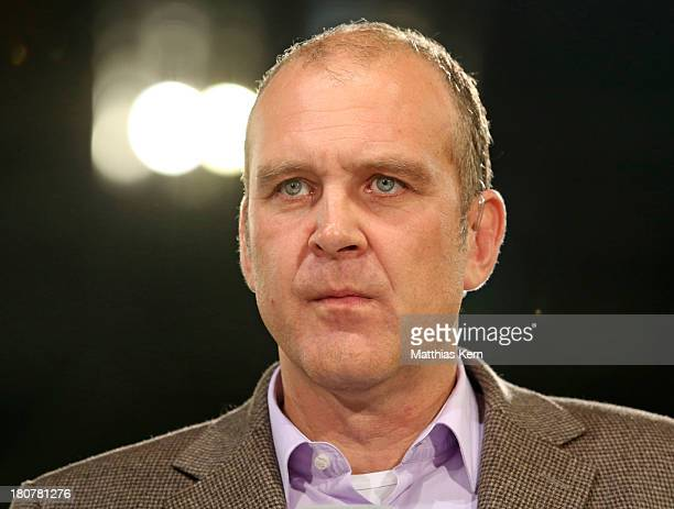 Manager Joerg Schmadtke of Koeln looks on prior to the Second Bundesliga match between FC Energie Cottbus and 1.FC Koeln at Stadion der Freundschaft...