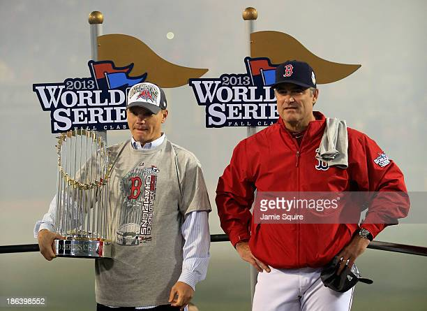 Manager John Farrell and Ben Cherington general manager of the Boston Red Sox stand on stage following a 61 victory over the St Louis Cardinals in...