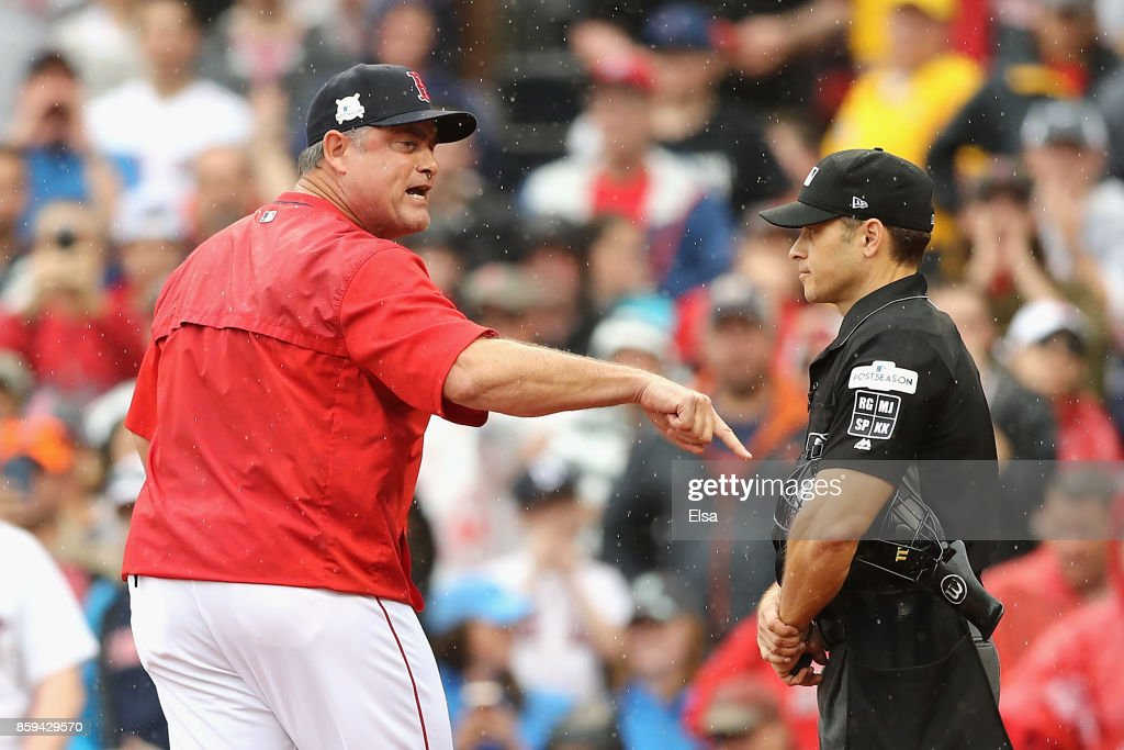 Manager John Farrell of the Boston Red Sox argues a call in the second inning and is ejected during game four of the American League Division Series against the Houston Astros at Fenway Park on October 9, 2017 in Boston, Massachusetts.