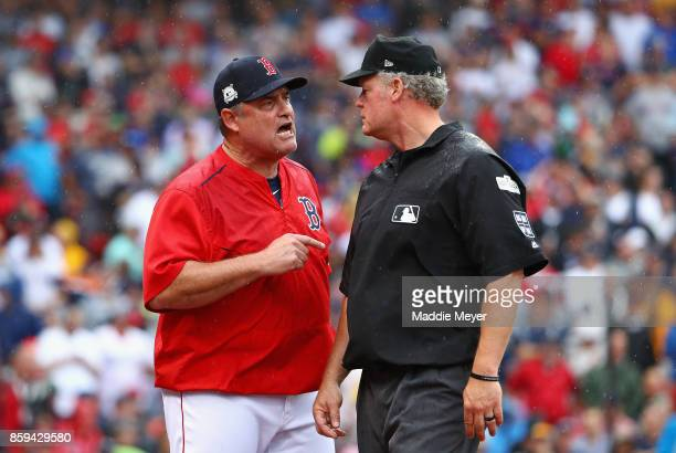 Manager John Farrell of the Boston Red Sox argues a call in the second inning and is ejected during game four of the American League Division Series...