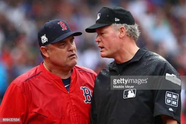 Manager John Farrell of the Boston Red Sox argues a call in the second inning and is ejected from game four of the American League Division Series...