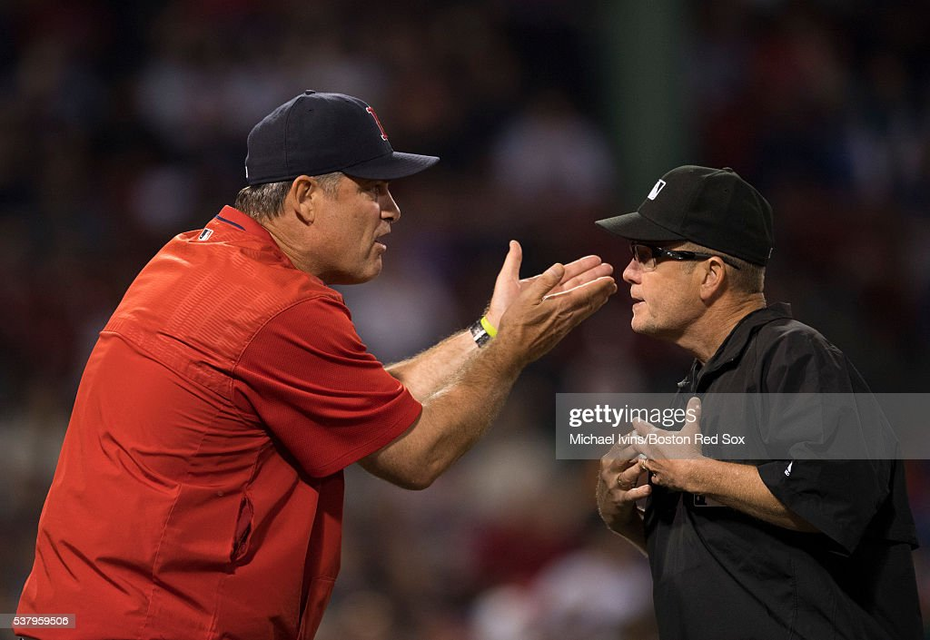 Manager John Farrell #53 of the Boston Red Sox argues with first base umpire Jerry Meals during the eighth inning of a game against the Toronto Blue Jays on June 3, 2016 at Fenway Park in Boston, Massachusetts.