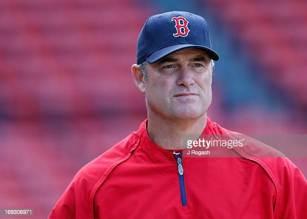 Manager John Farrell of the Boston Red Sox watches batting practice before a game against the Houston Astros at Fenway Park on April 26 2013 in...