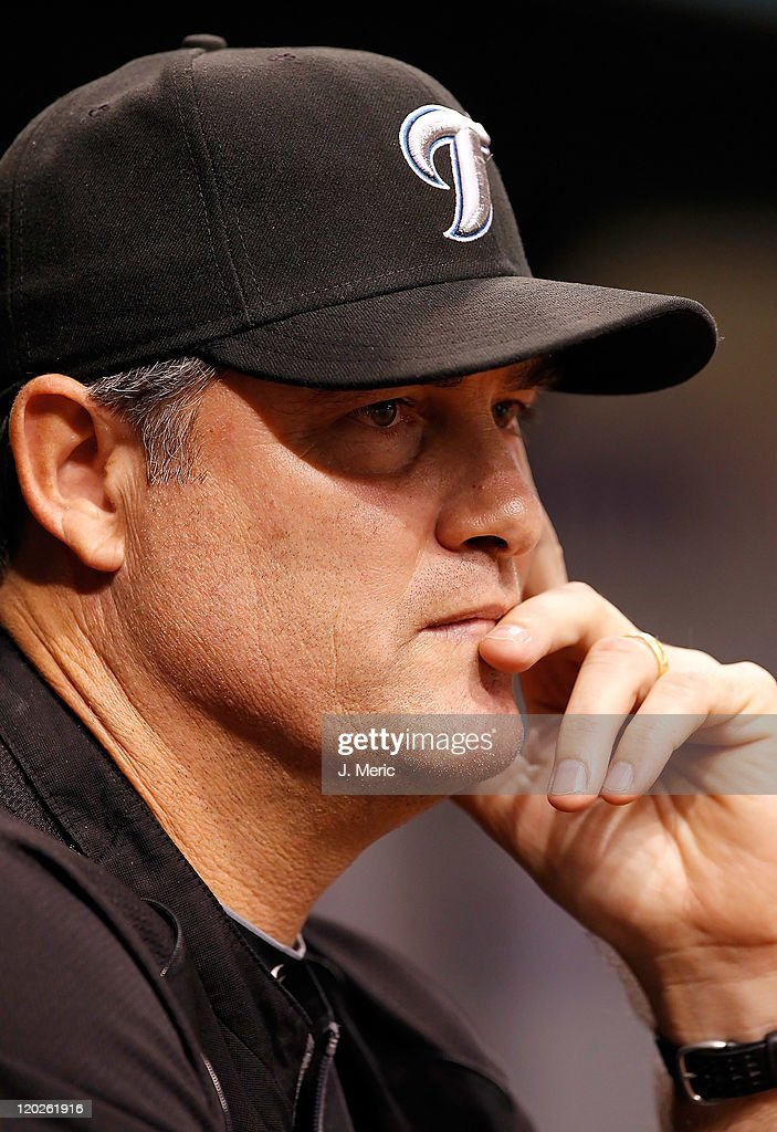 Manager John Farrell #52 of the Toronto Blue Jays watches his team against the Tampa Bay Rays during the game at Tropicana Field on August 2, 2011 in St. Petersburg, Florida.