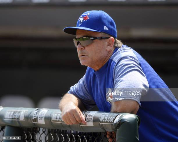 Manager John Gibbons of the Toronto Blue Jays looks on against the Chicago White Sox on July 29 2018 at Guaranteed Rate Field in Chicago Illinois