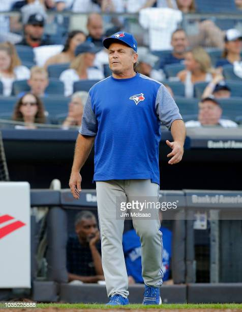 Manager John Gibbons of the Toronto Blue Jays looks on against the New York Yankees at Yankee Stadium on September 15 2018 in the Bronx borough of...