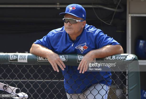 Manager John Gibbons of the Toronto Blue Jays looks on against the Chicago White Sox on August 2 2017 at Guaranteed Rate Field in Chicago Illinois