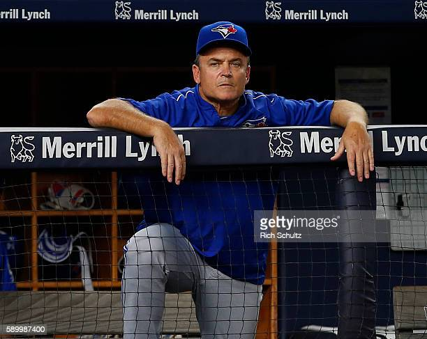 Manager John Gibbons of the Toronto Blue Jays looks on during the fourth inning of a game against the New York Yankees at Yankee Stadium on August 15...