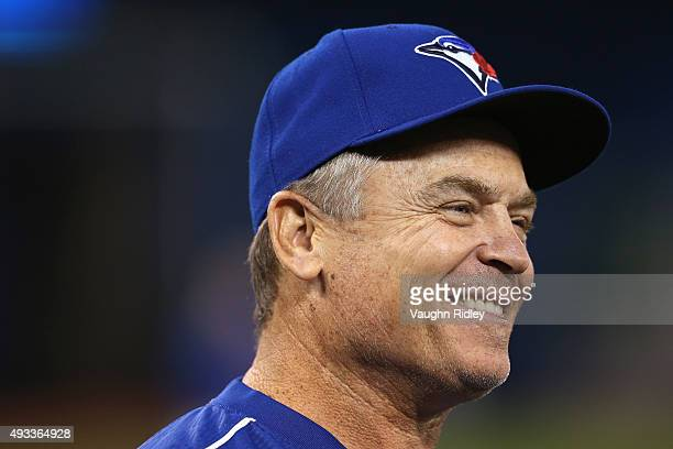 Manager John Gibbons of the Toronto Blue Jays looks on prior to game three of the American League Championship Series between the Toronto Blue Jays...