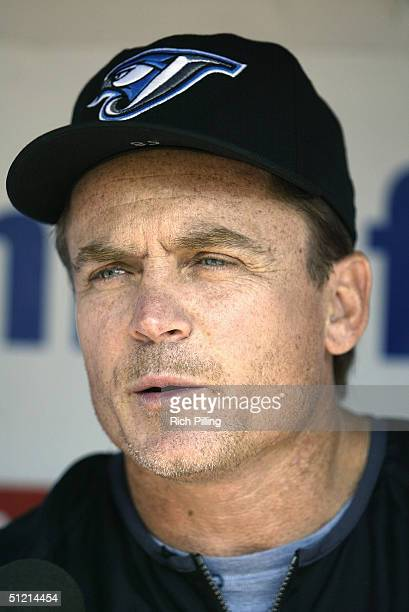 Manager John Gibbons of the Toronto Blue Jays talks to the press during the game against the New York Yankees at Yankee Stadium on August 9 2004 in...