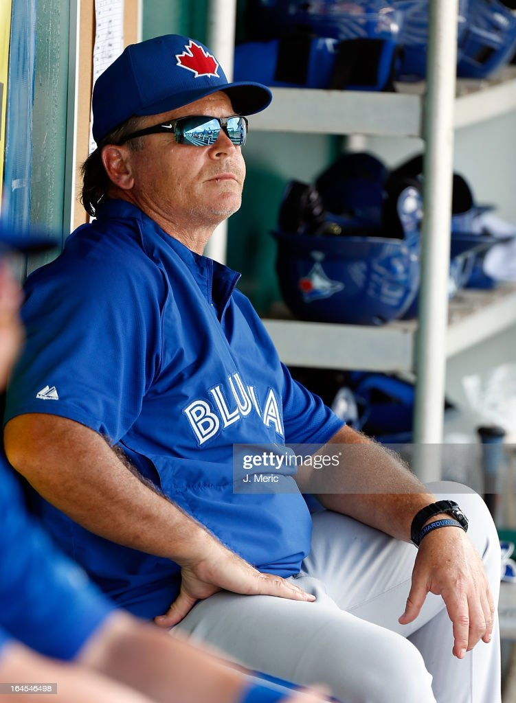 Manager John Gibbons #5 of the Toronto Blue Jays watches his team against the Minnesota Twins during a Grapefruit League Spring Training Game at Hammond Stadium on March 24, 2013 in Fort Myers, Florida.