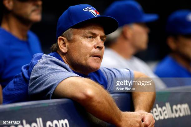 Manager John Gibbons of the Toronto Blue Jays whistles from the dugout during the second inning of a game against the Tampa Bay Rays on June 12 2018...