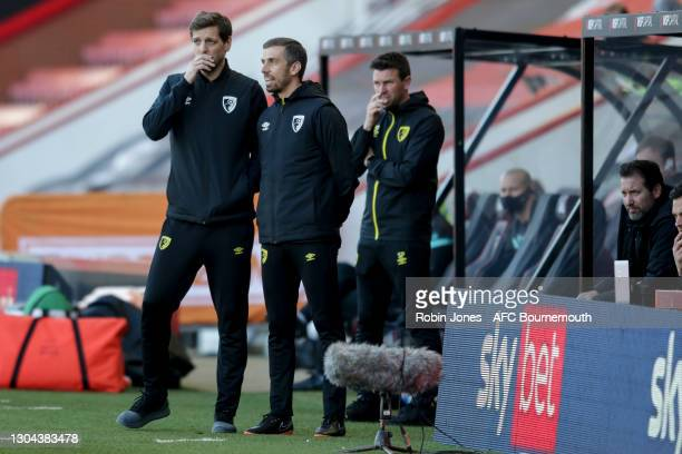 Manager Jonathan Woodgate and First Team Coach Gary O'Neill during the Sky Bet Championship match between AFC Bournemouth and Watford at Vitality...