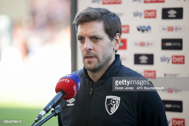 Manager Jonathan Woodgate of Bournemouth after his sides 1-0 win during the Sky Bet Championship match between AFC Bournemouth and Watford at...