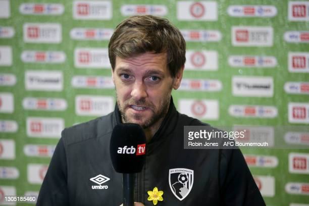 Manager Jonathan Woodgate of Bournemouth during post-match interview after his sides 2-1 win the Sky Bet Championship match between Bristol City and...