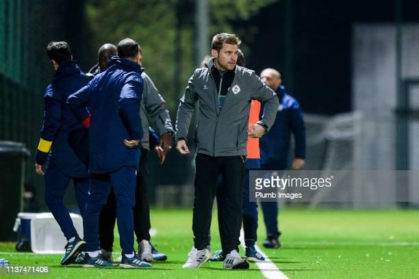 Manager Joost Hendrickx after winning the Reserve Pro League Cup match between OH Leuven Beloften and RSC Anderlecht Reserve at the Neerpede training...