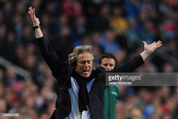 Manager Jorge Jesus of Benfica reacts during the UEFA Europa League Final between SL Benfica and Chelsea FC at Amsterdam Arena on May 15 2013 in...