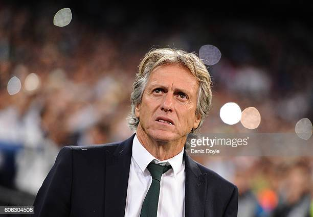 Manager Jorge Jesus of Sporting Clube de Portugal looks on before the start of the UEFA Champions League Group F match between Real Madrid CF and...