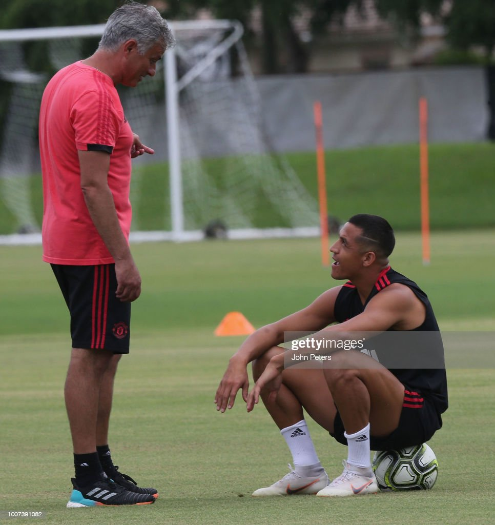 Manager Jose Mourinho and Alexis Sanchez of Manchester United in action during a first team training session as part of their pre-season tour of the USA at Barry University on July 29, 2018 in Miami, Florida.