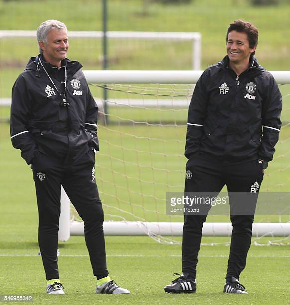 Manager Jose Mourinho and Assistant Manager Rui Faria of Manchester United in action during a first team training session at Aon Training Complex on...
