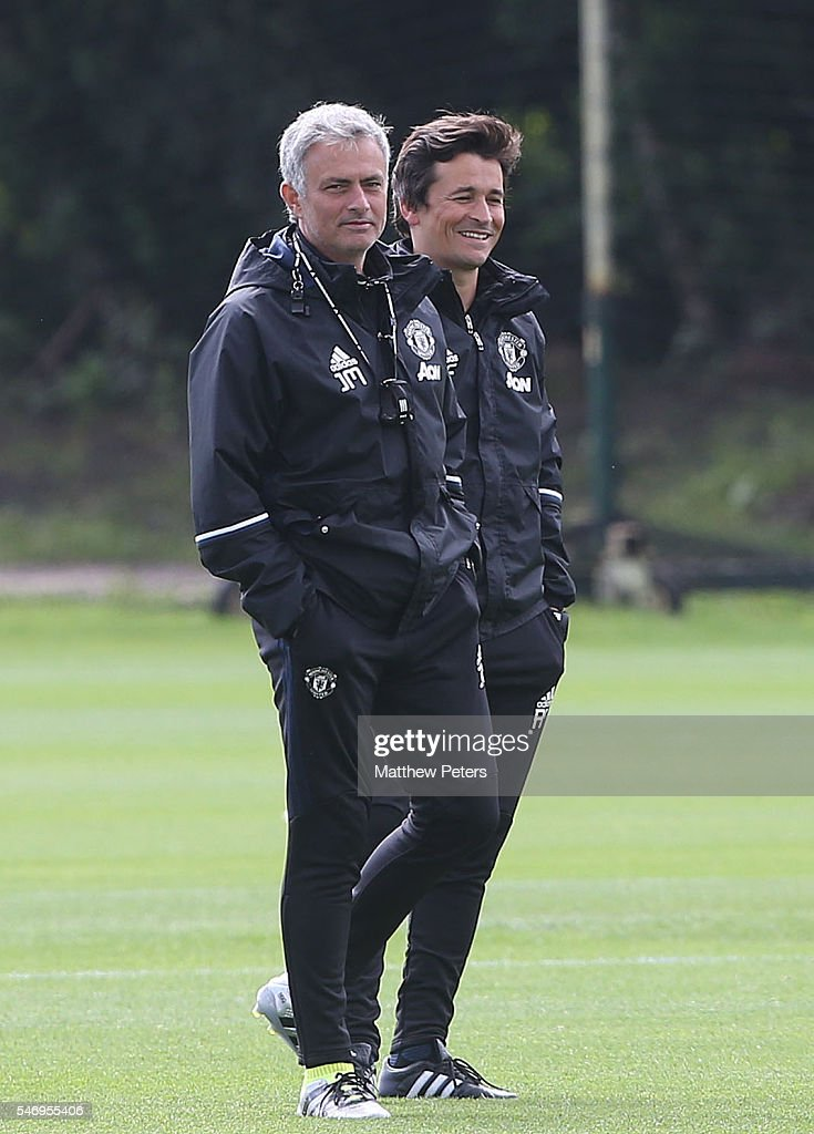 Manager Jose Mourinho and Assistant Manager Rui Faria of Manchester United in action during a first team training session at Aon Training Complex on July 13, 2016 in Manchester, England.