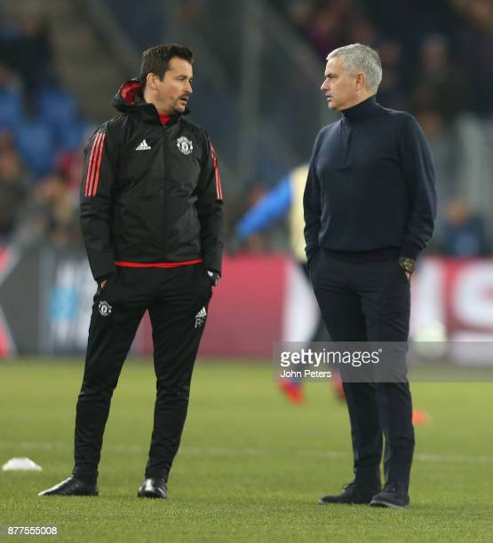 Manager Jose Mourinho and Assistant Manager Rui Faria of Manchester United watches the warm up ahead of the UEFA Champions League group A match...