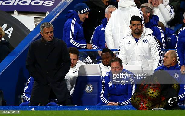 Manager Jose Mourinho and Diego Costa of Chelsea are seen on the bench prior to the Barclays Premier League match between Chelsea and AFC Bournemouth...