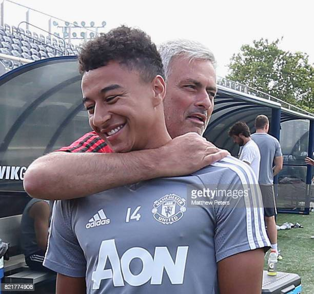 Manager Jose Mourinho and Jesse Lingard of Manchester United in action during a first team training session as part of their pre-season tour of the...