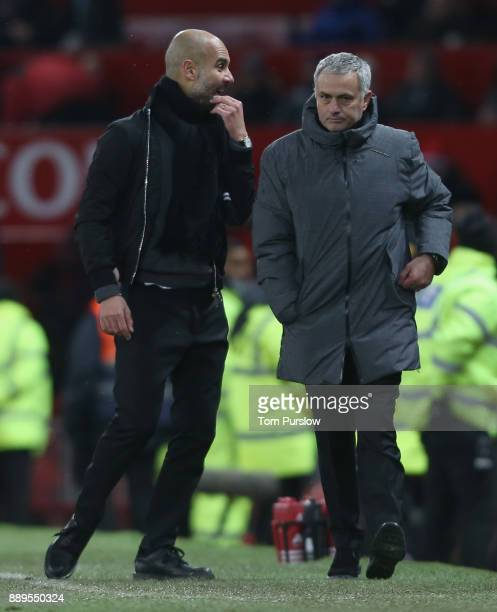 Manager Jose Mourinho and Manager Pep Guardiola of Manchester City shake hands after the Premier League match between Manchester United and...