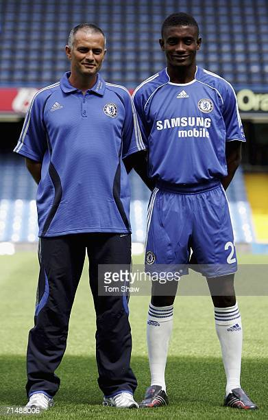 Manager Jose Mourinho and new signing Salomon Kalou model the new Chelsea kit at the Chelsea Football Club Kit Launch Press Conference at Stamford...