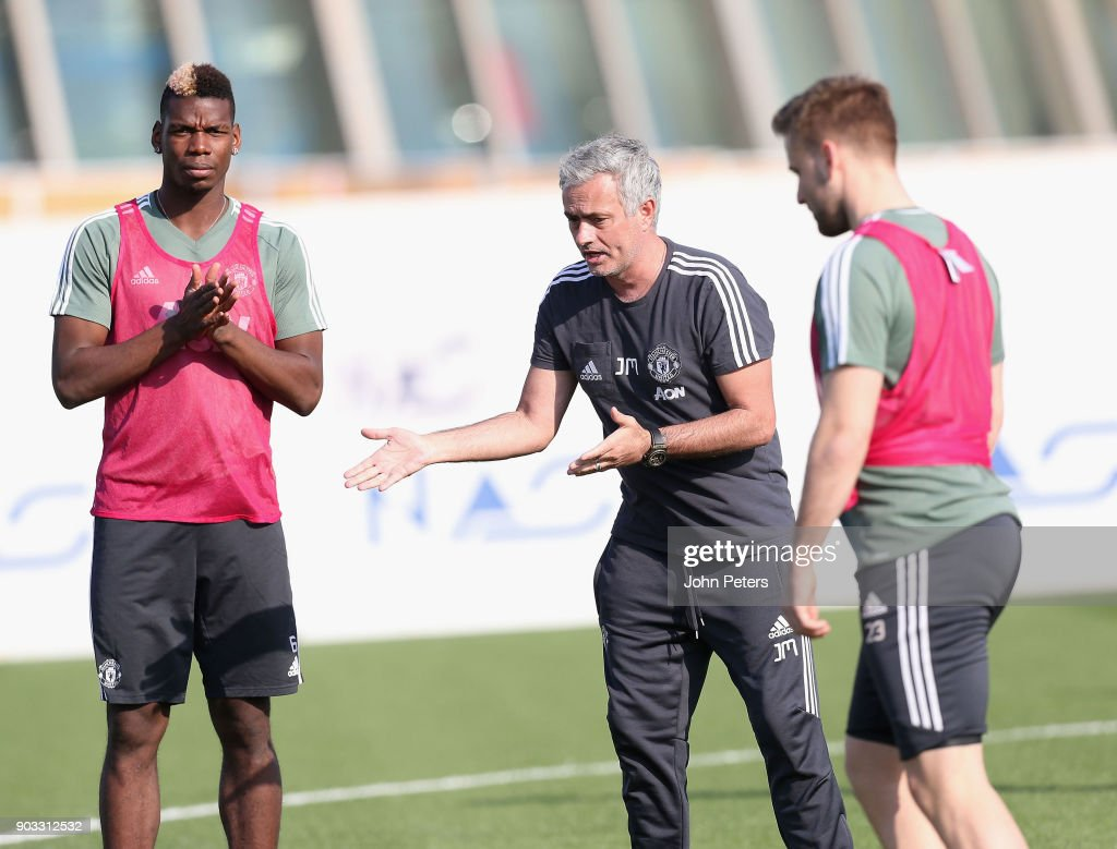 Manager Jose Mourinho and Paul Pogba of Manchester United in action during a first team training session at Nad Al Sheba Sports Complex on January 10, 2018 in Dubai, United Arab Emirates.